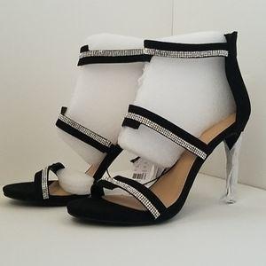 NWT New York & Co Black 3 Strap Heeled Sandals